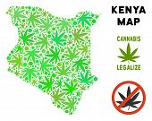 Royalty Free Cannabis Kenya Map Mosaic Of Weed Leaves. Concept For Narcotic Addiction Campaign Again poster
