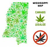 Royalty Free Cannabis Mississippi State Map Mosaic Of Weed Leaves. Template For Narcotic Addiction C poster