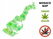 Royalty Free Cannabis Monaco Map Composition Of Weed Leaves. Template For Narcotic Addiction Campaig poster