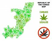 Royalty Free Cannabis Republic Of The Congo Map Composition Of Weed Leaves. Template For Narcotic Ad poster