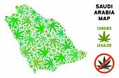 Royalty Free Marijuana Saudi Arabia Map Collage Of Weed Leaves. Concept For Narcotic Addiction Campa poster