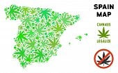 Royalty Free Cannabis Spain Map Mosaic Of Weed Leaves. Concept For Narcotic Addiction Campaign Again poster