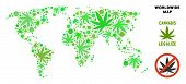 Royalty Free Cannabis World Map Composition Of Weed Leaves. Concept For Narcotic Addiction Campaign  poster