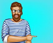 Vector Pop Art Brown Haired Man With Beard In Striped Shirt And Glasses. Cheerful Guy Points With Fi poster