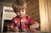 Child Paints With Felt-tip Pens. Kid Or Blonde Happy Boy Paint With Felt Pen. Childhood And Happines poster
