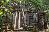 Ancient Stone Ruin Of Banteay Kdei Temple, Angkor Wat, Cambodia. Ancient Temple Ruin In Jungle. Angk poster