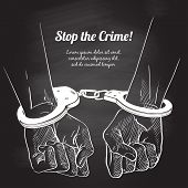 Handcuffs On The Hands Of The Criminal. Arrested Man In Handcuffs. A Crime, Corruption And Arrest Co poster