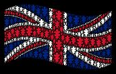 Waving British Official Flag On A Black Background. Vector Oak Leaf Items Are Combined Into Conceptu poster