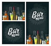 Horizontal And Vertical Template For Bar Menu Alcohol Drink With Calligraphic Handwriting Lettering. poster