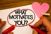 Handwriting Text What Motivates You Question. Concept Meaning Passion Drive Incentive Dream Aspirati poster