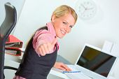 Portrait Of Successful Modern Business Woman Showing Thumbs Up