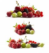 Set Of Fresh Fruits And Berries. Fruits And Berries Isolated On White Background. Ripe Currants, Ras poster