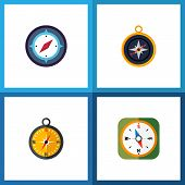 Icon Flat Orientation Set Of Measurement Dividers, Compass, Geography And Other Vector Objects. Also poster