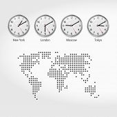 World Time Zones Clocks. Current Time In Famous Cities. Stock Exchange Clocks. New York, London, Mos poster