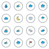 Climate Icons Colored Line Set With Freeze, Thunderstroke, Percent And Other Cloudburst Elements. Is poster