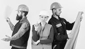 Inspector Disappointed About Employee, Builder. Men And Woman In Helmets Carefree With Hammer And Pr poster
