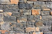 Stone Wall As A Background Or Texture. An Example Of Masonry As A Cladding Of External Walls. poster