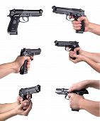 picture of top-gun  - Guns in hands isolated on a white background - JPG