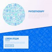 Physiotherapy Concept In Circle With Thin Line Icons: Rehabilitation, Physiotherapist, Acupuncture,  poster