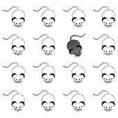 Grey Mouse. Vector Illustration Of A Cartoon Mouse. Hand Drawn Rat. poster