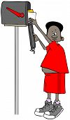 Illustration Of A Black Boy On His Tiptoes Getting Letters Out Of A Mailbox. poster
