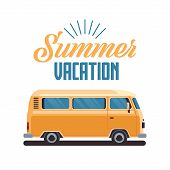 Summer Vacation Surf Bus Retro Surfing Vintage Greeting Card Vertical With Lettering Template Poster poster