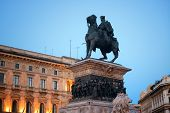 The Monument to King Victor Emmanuel II at Cathedral Square or Piazza del Duomo in Italian. Milan, I poster