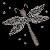 Embroidery Stitches Imitation Dragon Fly Isolated On The Black Background. Fashion Embroidery Insect poster
