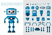 Diy Set Of Vector Robots Details In Flat Cartoon Style. Cute Cartoon Robotic Separate Parts For Crea poster