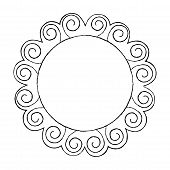 Hand Drawn Line Art Frame In Sun Shape Vector. Round Doodle Framework With Ornate Borders Illustrati poster