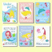 Cute Mermaid Greeting, Invitation Cards Vector Template Set. Summer Cards With Beautiful Girls Merma poster
