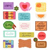 Home Mat Vector Welcome Doormat In Front Of House Entrance And Doorway Matting Rug For Visitors Illu poster