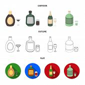 Liquor Chocolate, Champagne, Absinthe, Herbal Liqueur.alcohol Set Collection Icons In Cartoon, Outli poster
