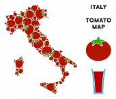 Italy Map Collage Of Tomato In Variable Sizes. Vector Tomato Items Are United Into Italy Map Collage poster