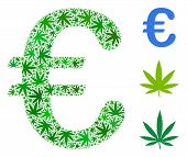 Euro Symbol Composition Of Weed Leaves In Variable Sizes And Green Variations. Vector Flat Weed Symb poster