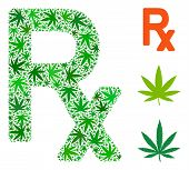 Prescription Symbol Composition Of Cannabis Leaves In Different Sizes And Green Shades. Vector Flat  poster