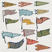 Set Of Adventure, Outdoors, Camping Colorful Pennants. Retro Monochrome Labels On Textured Backgroun poster
