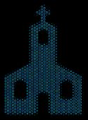 Halftone Christian Church Composition Icon Of Spheric Bubbles In Blue Shades On A Black Background.  poster