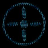 Halftone Drone Screw Composition Icon Of Circle Bubbles In Blue Color Hues On A Black Background. Ve poster