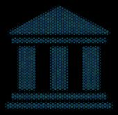 Halftone Library Building Composition Icon Of Circle Bubbles In Blue Color Tones On A Black Backgrou poster