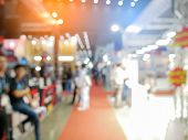 Blurry Background Of Exhibition Expo With Crowd People In Convention Hall. Abstract Concept. Busines poster
