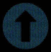 Halftone Rounded Arrow Collage Icon Of Empty Circles In Blue Color Tones On A Black Background. Vect poster