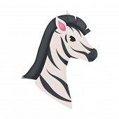 Zebra Animal Isolated On White Africa Character Vector Illustration. Wild Zoo Safari Black White Str poster
