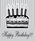 stock photo of birthday-cake  - vector illustration of birthday cake with candles - JPG