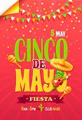 Cinco De May Fiesta Bright Promo Poster With Cactus In Sombrero That Holds Guitar. Cinco De May Mexi poster