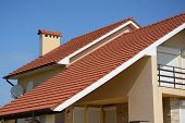 House With Clay Tile Roof, Rain Gutter, Chimney, Gable And Valley Type Of Roof Construction. Buildin poster