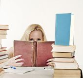 Girl Hiding Behind The Book,