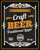 Craft Beer Retro Poster For Draught Beer Bar Or Sport Pub And Oktoberfest Design. Vector Beer Produc poster