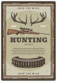 Hunter Club Or Hunting Open Season Sketch Poster Of Hunter Rifle Gun And Elk Antlers Trophy. Vector  poster