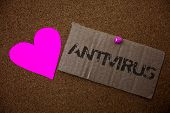 Text Sign Showing Antivirus. Conceptual Photo Safekeeping Barrier Firewall Security Defense Protecti poster